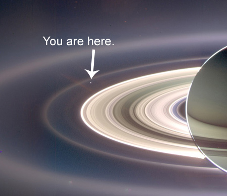 Saturn From Behind, courtesy of Cassini-Huygens -- You Are Here