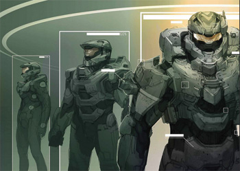 Master Chief, as illustrated by Gabriel Garza, is a Space Marine (and a Spartan)