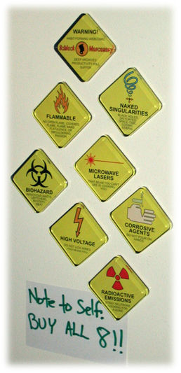 Schlock Mercenary Warning Sign Magnet Prototypes