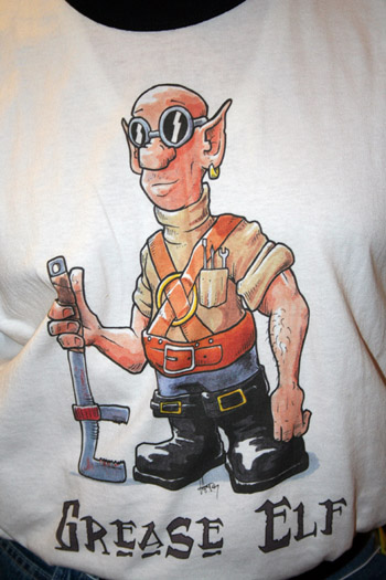 Grease Elf shirt - Art by Howard Tayler, printing by Mystprint