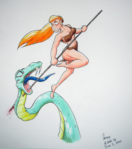 Jungle Elf killing a Snake