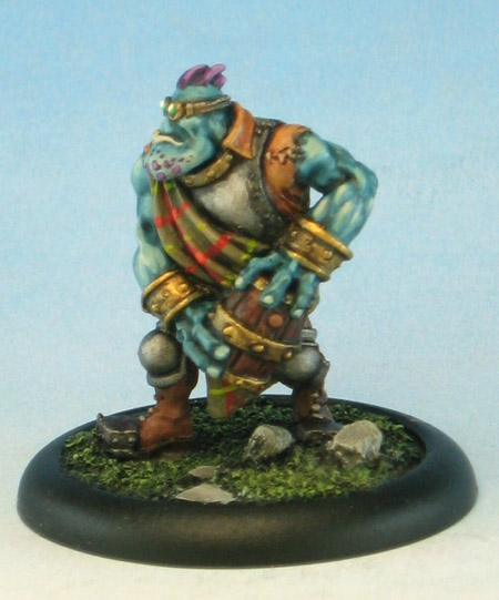 Trollblood Thumper Crewman with Keg of Powder, painted by Howard Tayler