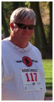 Steve Strote wearing his Tagon's Toughs shirt for a 5k run. Photo by Ron Akins